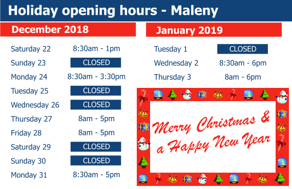 X Mas Opening Hours